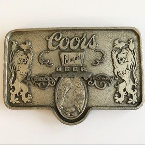 Vintage Coors Banquet Beer Silver Belt Buckle